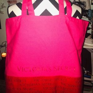 Victoria's Secret red/pink w/gold writing tote